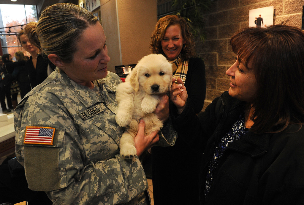 . LONGMONT, CO - OCTOBER 29:   Colorado National Guardsman Genevieve Flores, from Fort Carson, left, holds 5 week old Chinook as Yvonne Robinson, right, , pets the small puppy at Life Bridge Community Church in Longmont, Co on October 29, 2013. (at right is Melissa Garcia.)  Chinook was born just a few days after the flood.  Her mother was taken out of the Pinewood Springs area via a Chinook helicopter to escape the floods.  Because of this dramatic effort to get the dog to the vet before she gave birth Geri and her husband named this puppy Chinook.  (Photo By Helen H. Richardson/ The Denver Post)