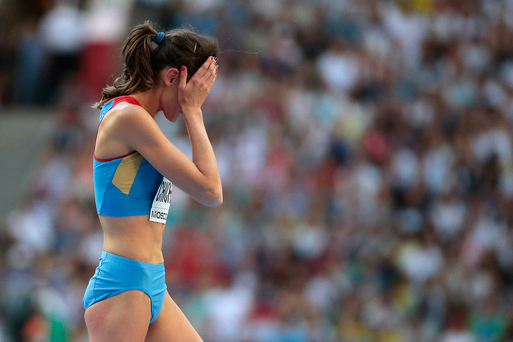 . Russia\'s Anna Chicherova reacts after an attempt in the women\'s high jump final at the World Athletics Championships in the Luzhniki stadium in Moscow, Russia, Saturday, Aug. 17, 2013. (AP Photo/Ivan Sekretarev)
