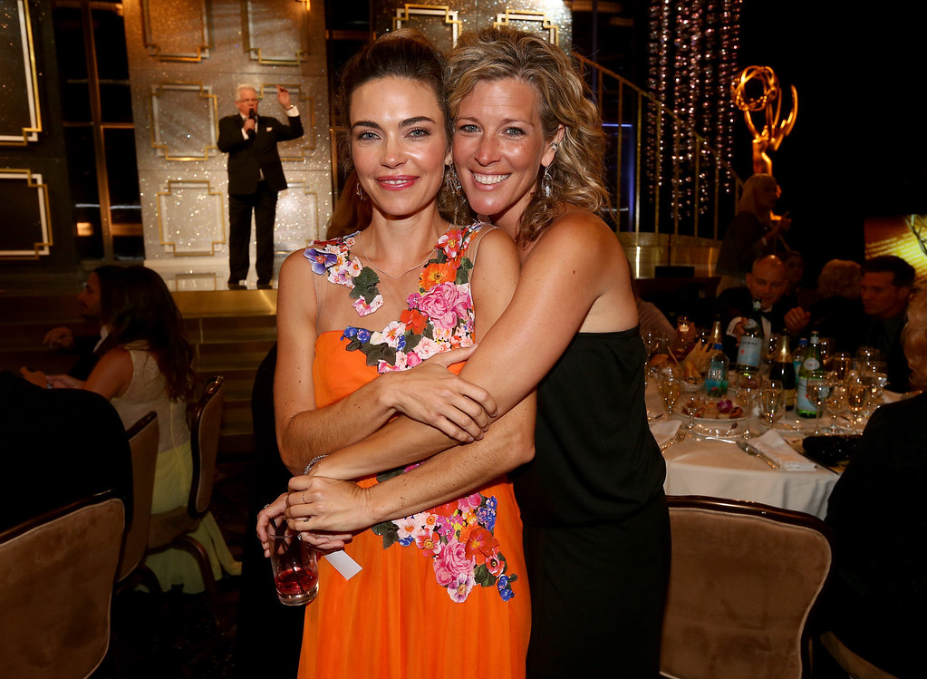 . BEVERLY HILLS, CA - JUNE 22: Actresses Amelia Heinle (L) and Laura Wright attend The 41st Annual Daytime Emmy Awards at The Beverly Hilton Hotel on June 22, 2014 in Beverly Hills, California.  (Photo by Christopher Polk/Getty Images for NATAS)