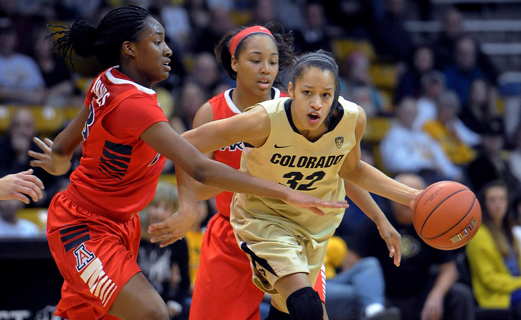 . Arielle Roberson of Colorado, drives on Erica Barnes of Arizona during the first half of theNCAA women\'s basketball game in Boulder Jan. 20 2013.  Cliff Grassmick/The Daily Camera