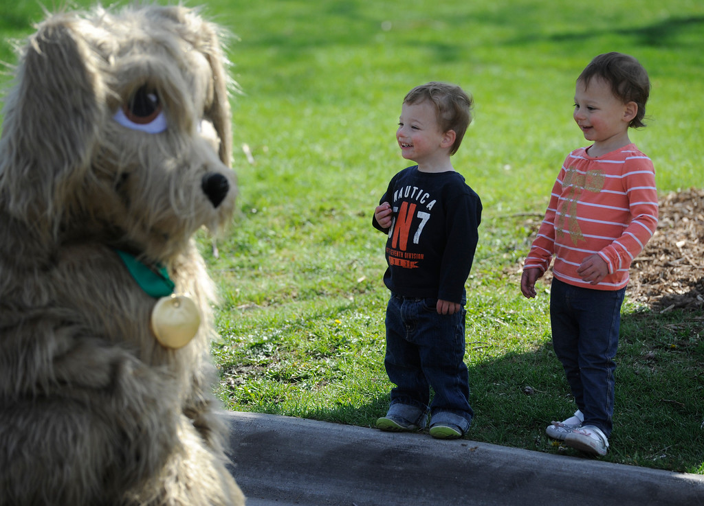 . DENVER, CO - MAY 4:  The Richard twins, Zev, left, and his sister, Goldie, one and one half years old, admire a Dumb Friends League Mascot dog at the 20th annual Denver Dumb Friends League fundraiser, �Furry Scurry,� at Washington Park, Saturday, May 4, 2013. Over 12,000 people and 5000 dogs participated in the two-mile walk around the park and enjoyed refreshments, contests, demonstrations and many pet-related sponsors and vendors. (Photo By Andy Cross/The Denver Post)