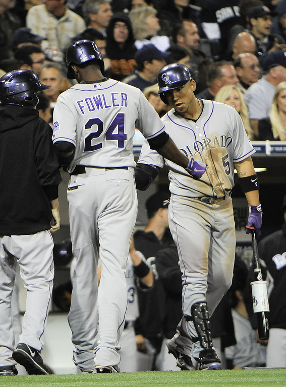 . SAN DIEGO, CA - APRIL 12:  Dexter Fowler #24 of the Colorado Rockies is congratulated by Carlos Gonzalez #5 after hitting a solo home run in the fifth inning against the San Diego Padres at Petco Park on April 12, 2013 in San Diego, California.  (Photo by Denis Poroy/Getty Images)