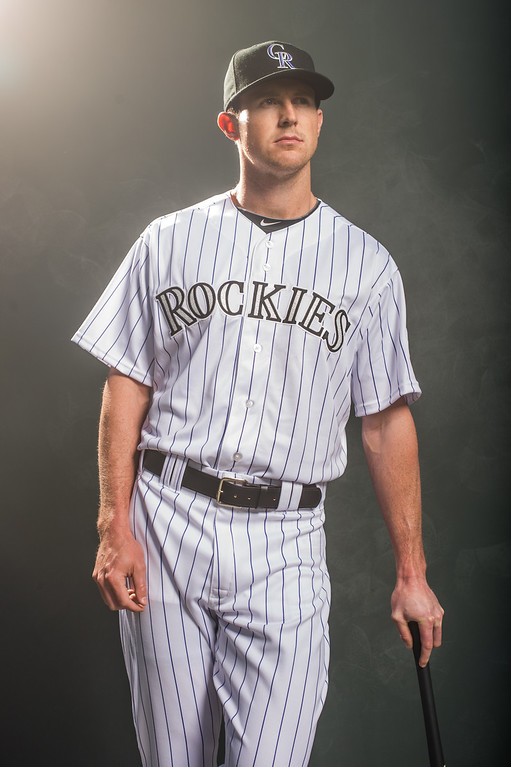 . Drew Stubbs #13 of the Colorado Rockies poses for a portrait at the Salt River Fields at Talking Stick on February 26, 2014 in Goodyear, Arizona. (Photo by Rob Tringali/Getty Images)
