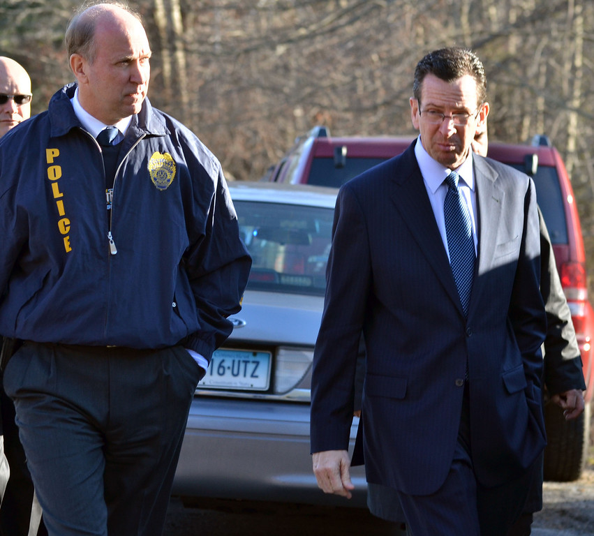 . Outside the firehouse near the Sandy Hook School in Newtown, shooting aftermath. Gov. Dannel Malloy on scene. Melanie Stenge/New Haven Register  12/14/12