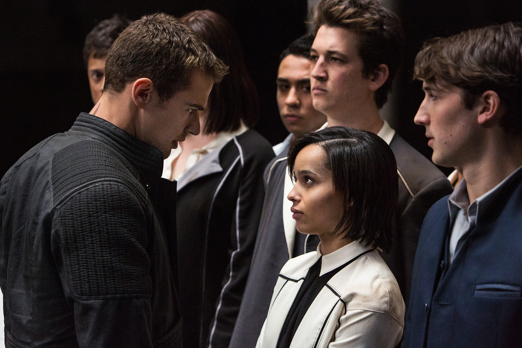 . (L-R) THEO JAMES, ZO� KRAVITZ, MILES TELLER, and BEN LLOYD HUGHES star in DIVERGENT