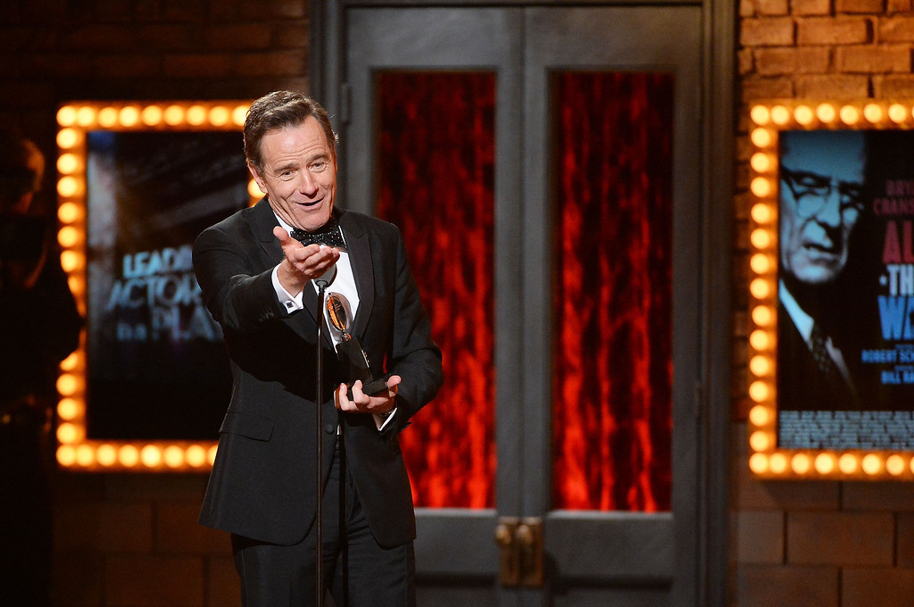 . Bryan Cranston accepts the award for Best Performance by an Actor in a Leading Role in a Play for �All The Way� onstage during the 68th Annual Tony Awards at Radio City Music Hall on June 8, 2014 in New York City.  (Photo by Theo Wargo/Getty Images for Tony Awards Productions)