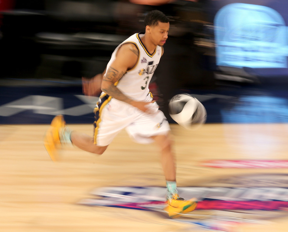 . NEW ORLEANS, LA - FEBRUARY 15:  Western Conference All-Star Trey Burke #3 of the Utah Jazz competes in the Taco Bell Skills Challenge 2014 as part of the 2014 NBA All-Star Weekend at the Smoothie King Center on February 15, 2014 in New Orleans, Louisiana. (Photo by Christian Petersen/Getty Images)