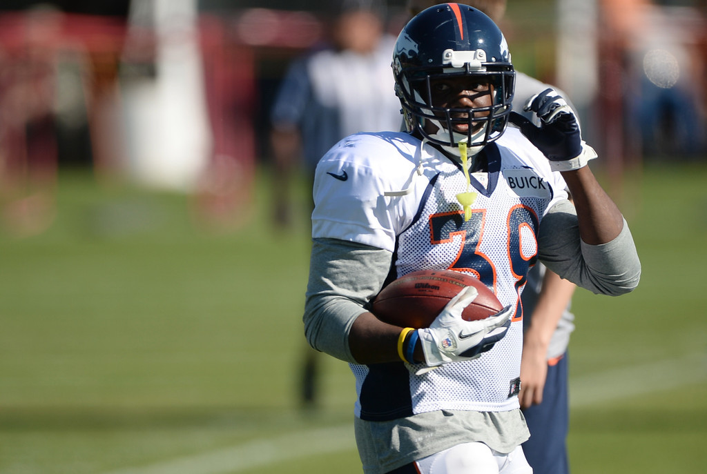 . CENTENNIAL, CO. - August 10: C.J. Anderson of the Denver Broncos (39) is in the training camp at Dove Valley. Centennial, Colorado. August 10, 2013. (Photo By Hyoung Chang/The Denver Post)