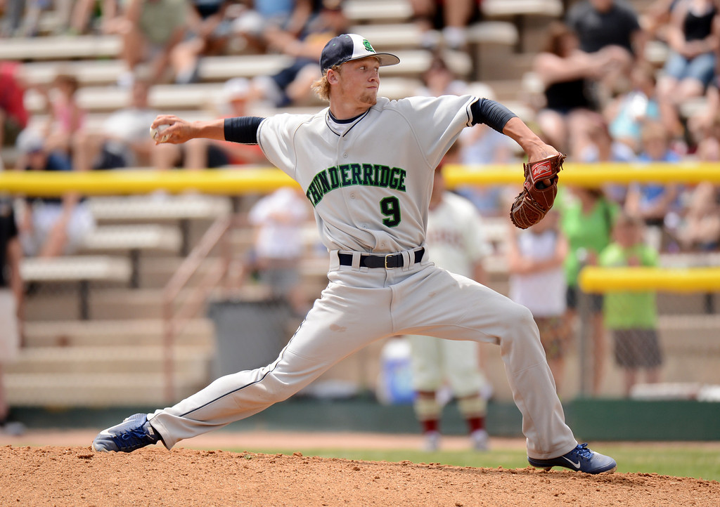 . DENVER, CO. - MAY 25: Andrew Jones of ThunderRidge HIgh School pitch against Rocky Mountain HIgh School during the final round of 5A baseball state championship game at All City Field. Denver, Colorado. May 25, 2013. ThunderRidge won 2-1. (Photo By Hyoung Chang/The Denver Post)