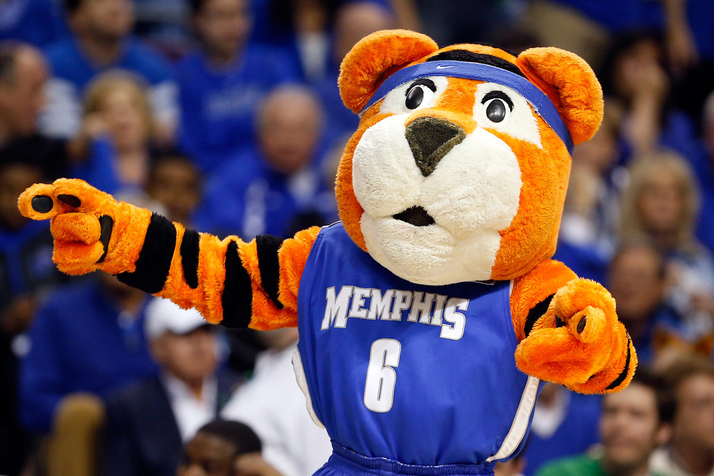 . AUBURN HILLS, MI - MARCH 23:  The mascot for the Memphis Tigers performs against the Michigan State Spartans during the third round of the 2013 NCAA Men\'s Basketball Tournament at The Palace of Auburn Hills on March 23, 2013 in Auburn Hills, Michigan.  (Photo by Gregory Shamus/Getty Images)