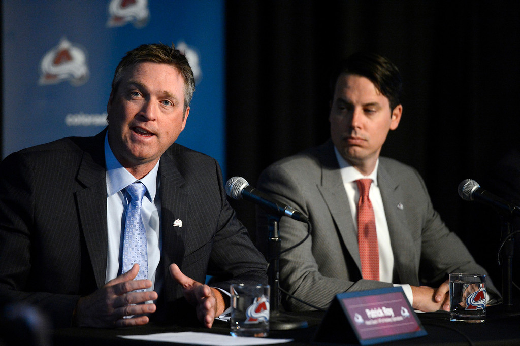 . Patrick Roy, Head Coach/Vice President of Hockey Operations answers questions as Avalanche President Josh Kroenke looks on during a press conference. The Colorado Avalanche announced Patrick Roy as their new head coach/vice president of hockey operations May 28, 2013 at Pepsi Center. This will make Roy the sixth  head coach in Avalanche history since coming to Denver. (Photo By John Leyba/The Denver Post)