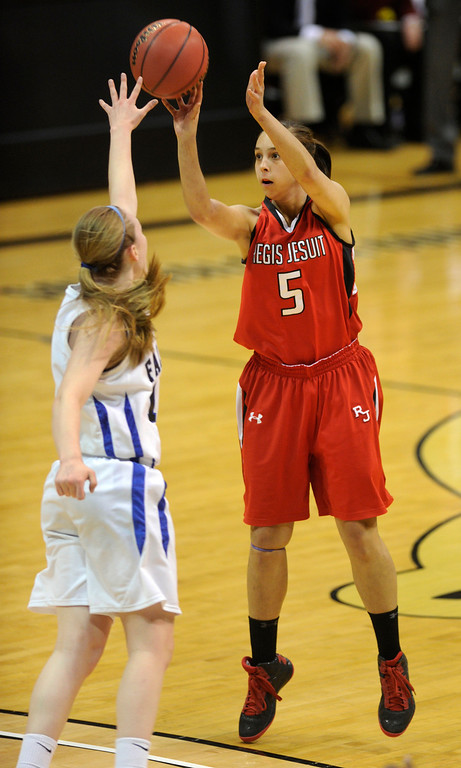 . BOULDER, CO. - MARCH 16: Raiders junior guard Anna Ptasinksi (5) put up a jump shot in the first half. The Regis Jesuit High School girl\'s basketball team took on Highlands Ranch in the 5A championship game Saturday, March 16, 2013 at the Coors Events Center in Boulder.  (Photo By Karl Gehring/The Denver Post)