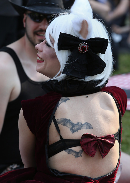 . A Gothic enthusiast with bat tattoos attends a Victorian picnic during the annual Wave-Gotik-Treffen music festival on June 6, 2014 in Leipzig, Germany. (Photo by Adam Berry/Getty Images)