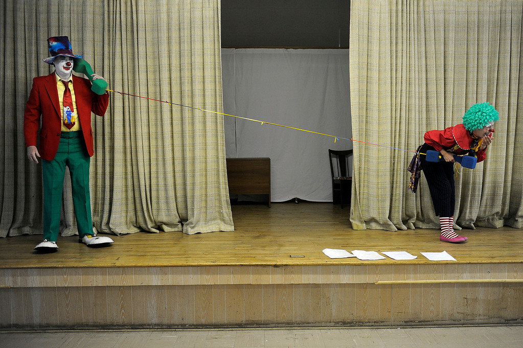. Kalvinator, aka Donald Nash, left, and Pepper Doodle, aka Sandy Duran, rehearse a skit during Clown Class at First Presbyterian Church in Englewood on Sunday, March 3, 2013. The Colorado Clowns presented the 10-week series of clown classes that taught participants how to apply make up, character development, skits, parades and the history of clowning. Seth A. McConnell, YourHub