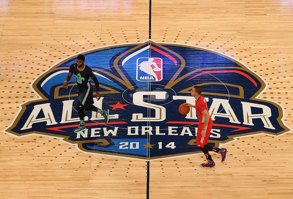 . Western Conference Stephen Curry #30 of the Golden State Warriors moves the ball across mid court during 2014 NBA All-Star game against the Eastern Conference at the Smoothie King Center on February 16, 2014 in New Orleans, Louisiana. The East defeated the West 163-155.  NOTE TO USER: User expressly acknowledges and agrees that, by downloading and or using this photograph, User is consenting to the terms and conditions of the Getty Images License Agreement.  (Photo by Christian Petersen/Getty Images)