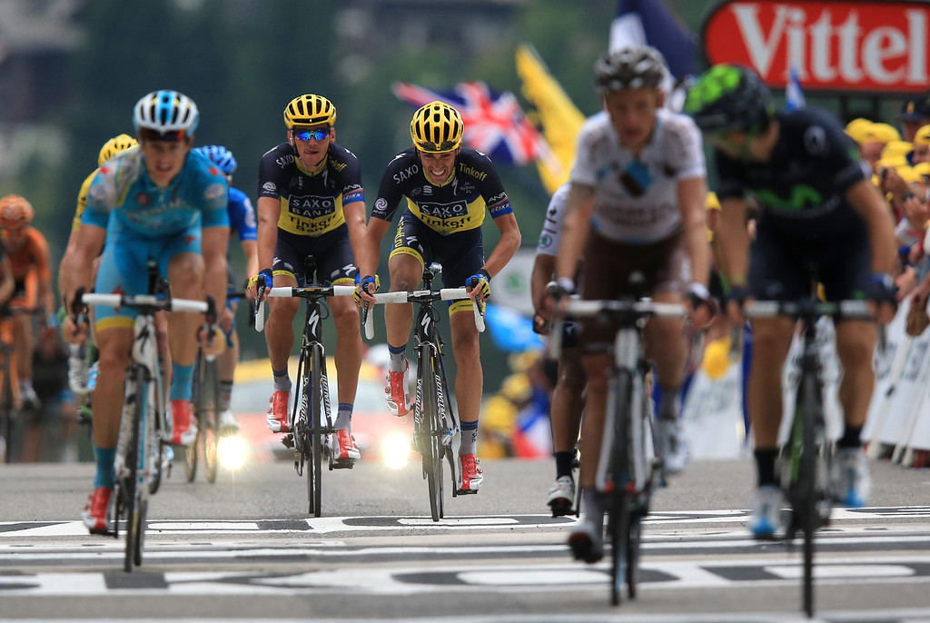 . Alberto Contador of Spain and Team Saxo-Tinkoff (C) sprints for the finish line during stage nineteen of the 2013 Tour de France, a 204.5KM road stage from Bourg d\'Oisans to Le Grand Bornand, on July 19, 2013 in Le Grand Bornand, France.  (Photo by Doug Pensinger/Getty Images)