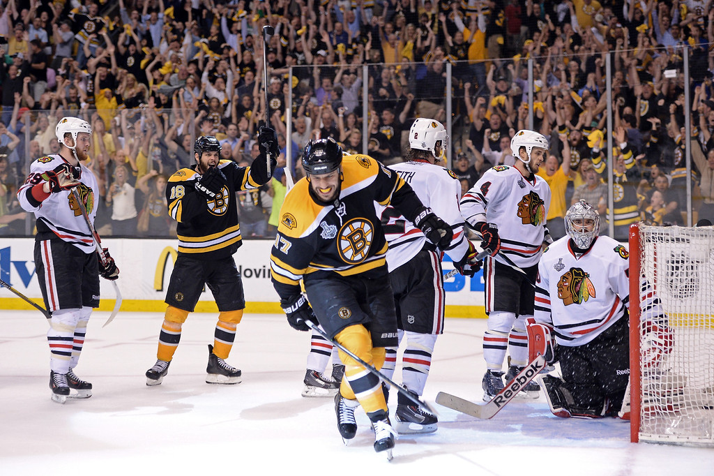 . Milan Lucic #17 of the Boston Bruins celebrates after scoing a goal in the third period against Tuukka Rask #40 of the Boston Bruins in Game Six of the 2013 NHL Stanley Cup Final at TD Garden on June 24, 2013 in Boston, Massachusetts.  (Photo by Harry How/Getty Images)