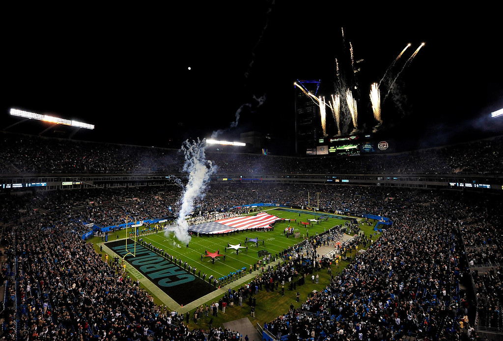 . Fireworks explode over Bank of America Stadium during the National Anthem before a game between the Carolina Panthers and the New England Patriots on November 18, 2013 in Charlotte, North Carolina.  (Photo by Grant Halverson/Getty Images)