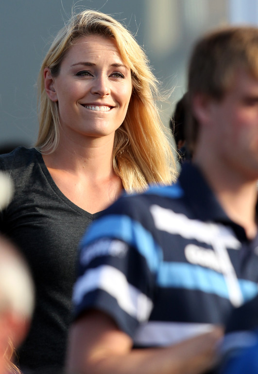 . US Olympic Skier Lindsey Vonn watches her boyfriend US golfer Tiger Woods play during the third round of the 2013 British Open Golf Championship at Muirfield golf course at Gullane in Scotland on July 20, 2013 .  PETER MUHLY/AFP/Getty Images
