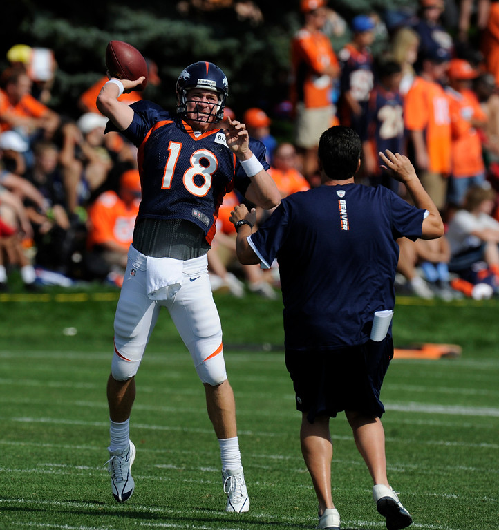 . ENGLEWOOD, CO - JULY 27: Denver Broncos QB, Peyton Manning during training drills at Dove Valley Saturday July 26, 2013.  (Photo By Andy Cross/The Denver Post)