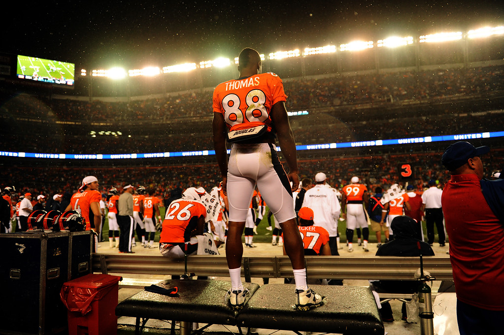 . DENVER, CO. - August 24: The wide receiver Demaryius Thomas (88) of the Denver Broncos watches his team drive to score in the 4th quarter vs the St. Louis Rams during the 3rd pre-season game of the season at Sports Authority Field at Mile High. August 24, 2013 Denver, Colorado. (Photo By Joe Amon/The Denver Post)