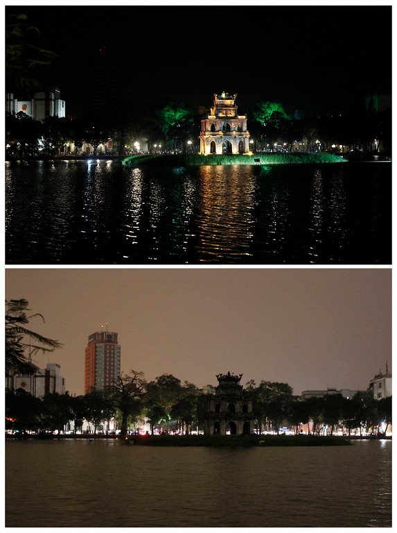 . A combination picture shows the Turtle tower after (top) and during Earth Hour in Hanoi March 23, 2013. Earth Hour, when everyone around the world is asked to turn off lights for an hour from 8.30 p.m. local time, is meant as a show of support for tougher action to confront climate change. REUTERS/Kham