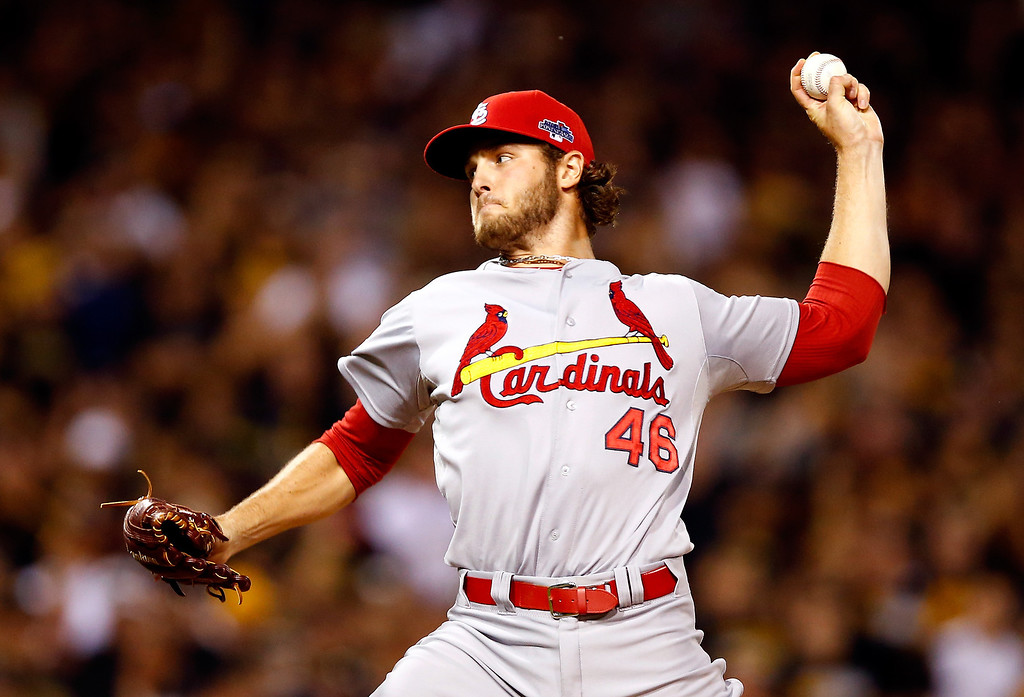 . Kevin Siegrist #46 of the St. Louis Cardinals pitches in the eighth inning against the Pittsburgh Pirates during Game Three of the National League Division Series at PNC Park on October 6, 2013 in Pittsburgh, Pennsylvania.  (Photo by Justin K. Aller/Getty Images)