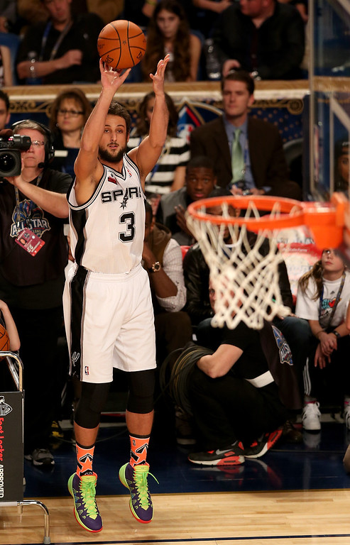 . NEW ORLEANS, LA - FEBRUARY 15:  Western Conference All-Star Marco Belinelli #3 of the San Antonio Spurs competes in the Foot Locker Three-Point Contest 2014 as part of the 2014 NBA All-Star Weekend at the Smoothie King Center on February 15, 2014 in New Orleans, Louisiana. (Photo by Christian Petersen/Getty Images)