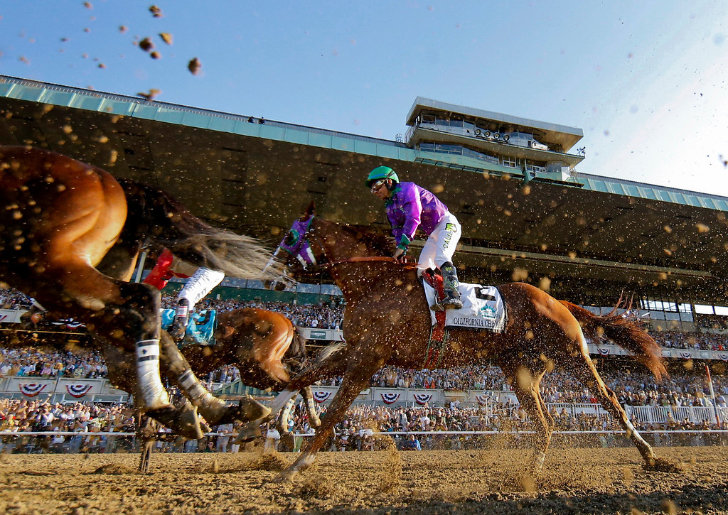 . California Chrome with Victor Espinoza up finishes fourth in the Belmont Stakes horse race, Saturday, June 7, 2014, in Elmont, N.Y. (AP Photo/Matt Slocum)