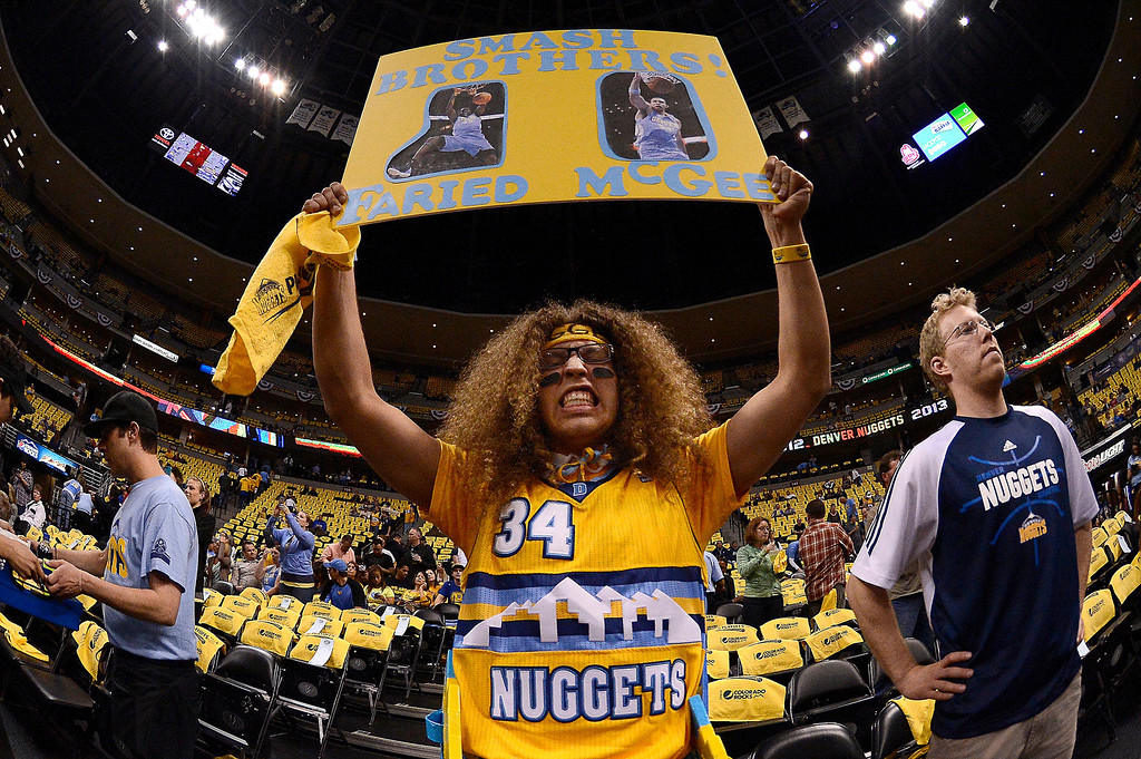 . Nuggets fan Caleb Wittman, 21, from Arvada, gets ready for the start of the game. The Denver Nuggets took on the Golden State Warriors in Game 5 of the Western Conference First Round Series at the Pepsi Center in Denver, Colo. on April 30, 2013. (Photo by John Leyba/The Denver Post)