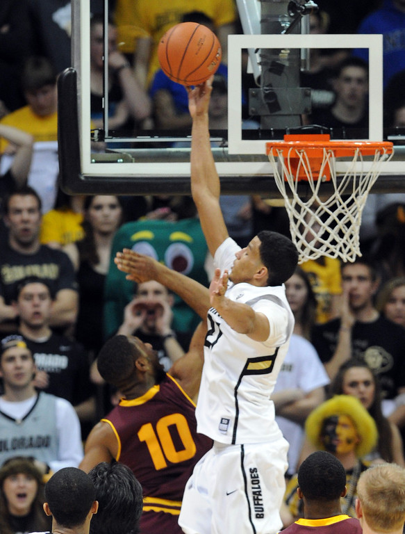 . Andre Roberson of CU blocks the shot of Evan Gordon of ASU during the second half of the February 16th, 2013 game in Boulder. Cliff Grassmick / February 16, 2013