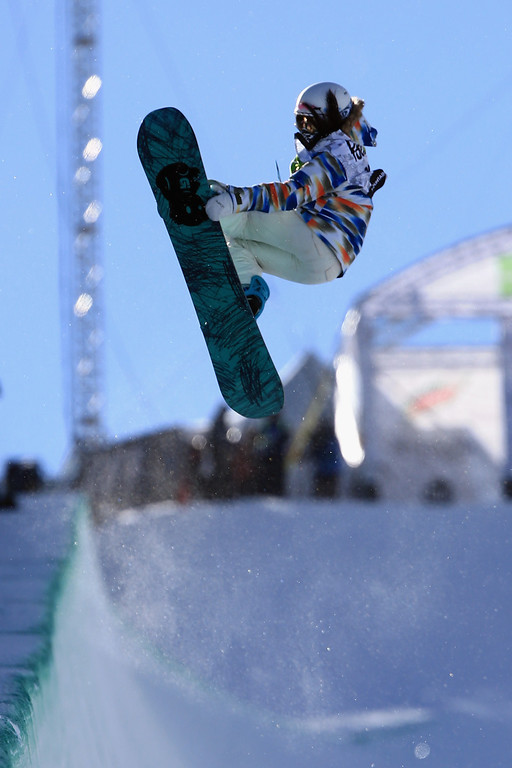 . Chloe Kim in action en route to a third place finish in the women\'s snowboard superpipe final at the Dew Tour iON Mountain Championships on December 14, 2013 in Breckenridge, Colorado.  (Photo by Doug Pensinger/Getty Images)
