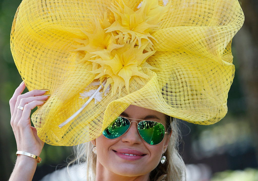 . Ester Dohnalova poses for a photograph, on the first day of the Royal Ascot horse racing meeting, in Ascot, England, Tuesday, June 17, 2014. (AP Photo/Alastair Grant)