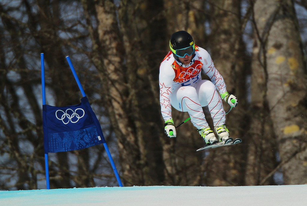 . Andrew Weibrecht of the United States skis during the Alpine Skiing Men\'s Super-G on day 9 of the Sochi 2014 Winter Olympics at Rosa Khutor Alpine Center on February 16, 2014 in Sochi, Russia.  (Photo by Clive Rose/Getty Images)