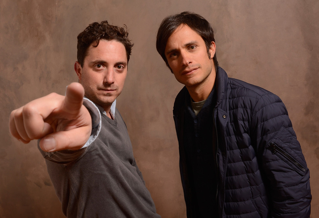 . Director Pablo Larrain and actor Gael Garcia Bernal pose for a portrait during the 2013 Sundance Film Festival at the Getty Images Portrait Studio at Village at the Lift on January 18, 2013 in Park City, Utah.  (Photo by Larry Busacca/Getty Images)