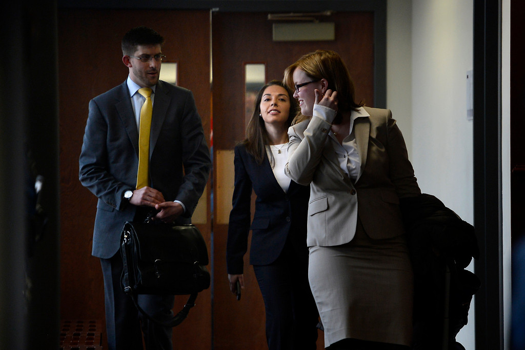. CENTENNIAL, CO. - APRIL 10: Fox News reporter Jana Winter (second from right) leaves her hearing for protecting her sources in a story connected to mass murderer James Holmes at the Arapahoe County Justice Center April 10, 2013 Centennial, Colorado. (Photo By Joe Amon/The Denver Post)