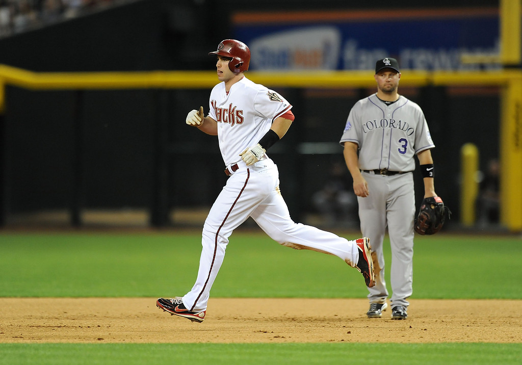 . PHOENIX, AZ - APRIL 25:  Paul Goldschmidt #44 of the Arizona Diamondbacks rounds the bases after hitting a two run home run in the fourth inning against the Colorado Rockies at Chase Field on April 25, 2013 in Phoenix, Arizona.  (Photo by Norm Hall/Getty Images)