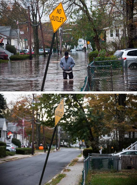 . LITTLE FERRY, NJ - OCTOBER 30: (top) A man walks through a flooded street after Superstorm Sandy October 30, 2012, in Little Ferry, New Jersey. LITTLE FERRY, NJ - OCTOBER 22: (bottom)  October 22, 2013.  Hurricane Sandy made landfall on October 29, 2012 near Brigantine, New Jersey and affected 24 states from Florida to Maine and cost the country an estimated $65 billion. (Photos by Andrew Burton/Getty Images)
