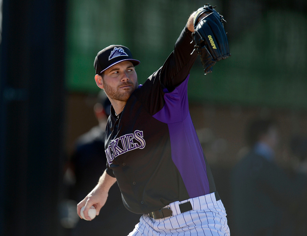 . SCOTTSDALE, AZ. - FEBRUARY 21: Adam Ottavino (37) of the Colorado Rockies warms up during Spring Training February 21, 2013 in Scottsdale. (Photo By John Leyba/The Denver Post)