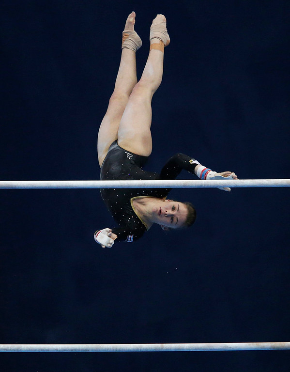 . Britain\'s Ruby Harrold competes on the uneven bars during the women\'s apparatus finals at the European Men\'s and Women\'s Artistic Gymnastic individual Championships in Moscow April 20, 2013.  REUTERS/Grigory Dukor
