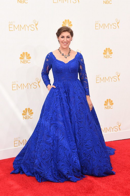 . Actress Mayim Bialik attends the 66th Annual Primetime Emmy Awards held at Nokia Theatre L.A. Live on August 25, 2014 in Los Angeles, California.  (Photo by Jason Merritt/Getty Images)