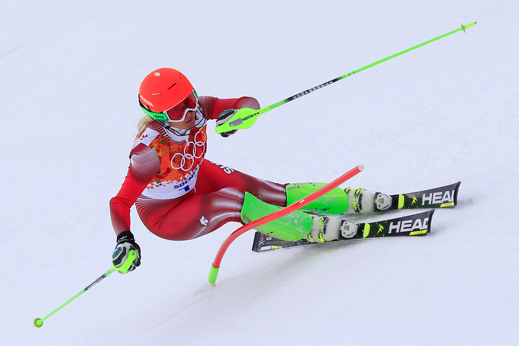 . Switzerland\'s Denise Feierabend skis during the Women\'s Alpine Skiing Super Combined Slalom at the Rosa Khutor Alpine Center during the Sochi Winter Olympics on February 10, 2014.  AFP PHOTO / ALEXANDER KLEIN/AFP/Getty Images