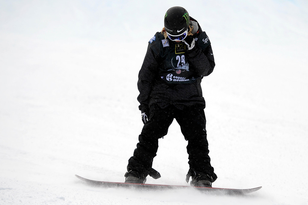. Sage Kotsenburg hangs his head after not placing following his second run during the slopestyle finals of the Copper Mountain Grand Prix.   (Photo by AAron Ontiveroz/The Denver Post)