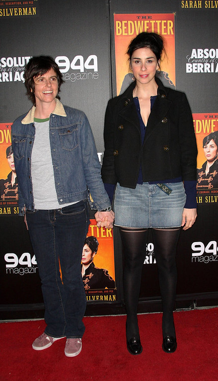 ". Comedian/author Sarah Silverman (L) and comedian Tig Notaro attend the book launch party for Sarah Silverman\'s new book ""The Bedwetter\"" at the Trousdale Lounge on April 29, 2010 in West Hollywood, California.  (Photo by Frederick M. Brown/Getty Images)"