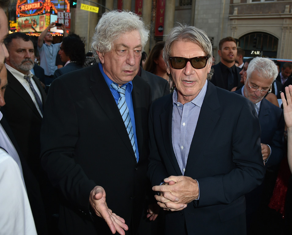 """. Producer Avi Lerner (L) and actor Harrison Ford attend the premiere of Lionsgate Films\' \""""The Expendables 3\"""" at TCL Chinese Theatre on August 11, 2014 in Hollywood, California.  (Photo by Kevin Winter/Getty Images)"""