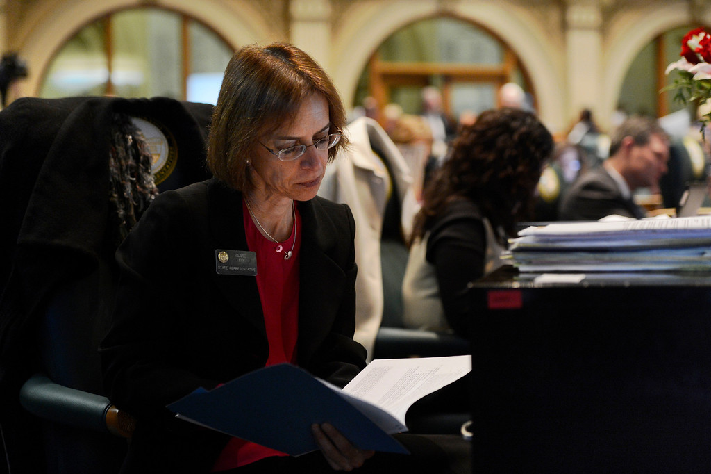 . DENVER, CO. - FEBRUARY 15: Representative Claire Levy going over notes as the Colorado House debates four bills that seek to enact universal gun background checks, fees for background checks, limits on magazine size and a ban on conceal carry permits on college campuses at the Denver State Capitol February 15, 2013. Denver, Colorado. (Photo By Joe Amon/The Denver Post)