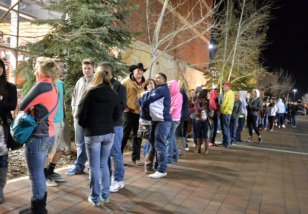 . Shoppers wait in  line  outside of DICK\'S Sporting goods store for Black Thursday and Friday at FlatIron Crossing mall on Thursday, November 28, 2013. David R. Jennings/Boulder Daily Camera