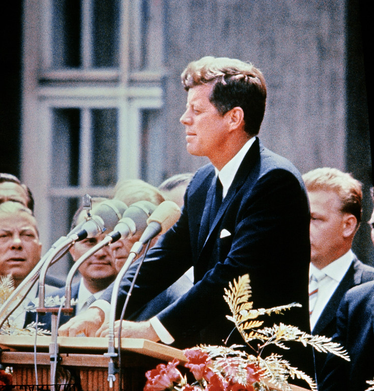 . Sen. Kennedy gives a speech July 15, 1957.  AFP/Getty Images
