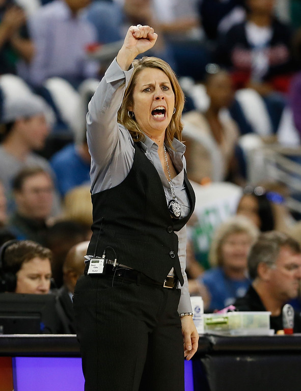 . ATLANTA, GA - OCTOBER 10:  Head coach Cheryl Reeve of the Minnesota Lynx yells to her team against the Atlanta Dream during Game Three of the 2013 WNBA Finals at Philips Arena on October 10, 2013 in Atlanta, Georgia.   (Photo by Kevin C. Cox/Getty Images)
