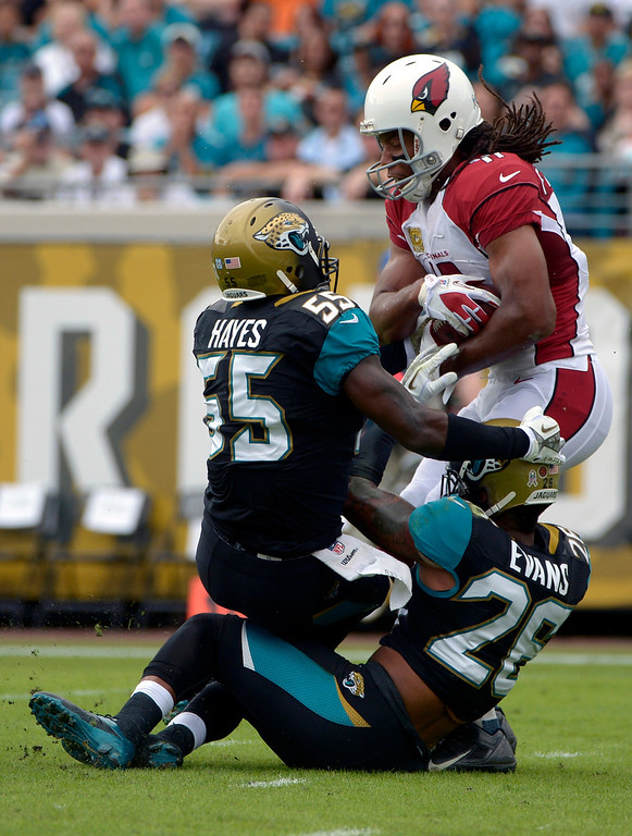 . Arizona Cardinals wide receiver Larry Fitzgerald (11) falls backward over the goal line to score a touchdown on a 14-yard pass as he is tackled by Jacksonville Jaguars outside linebacker Geno Hayes (55) and free safety Josh Evans (26) during the first half of an NFL football game in Jacksonville, Fla., Sunday, Nov. 17, 2013. (AP Photo/Phelan M. Ebenhack)